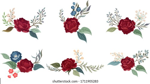 Flower Arrangement with Showy Rose Blossom in the Middle and Branched Twigs Vector Set