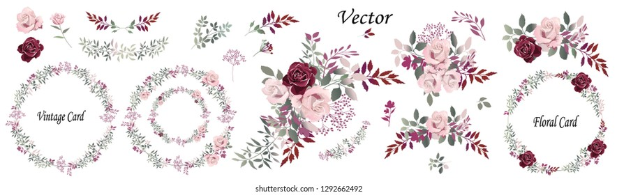 Flower arrangements of pink and Burgundy roses, colorful leaves, wild herbs. Set: roses, bouquets, twigs, wreaths, floral elements. Vector illustration.