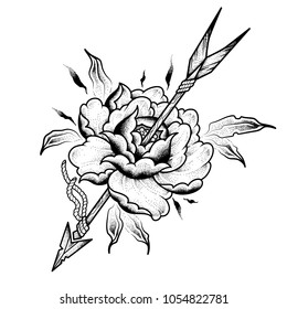 Flower with an arrow. Tattoo design. Vector illustration isolated on white