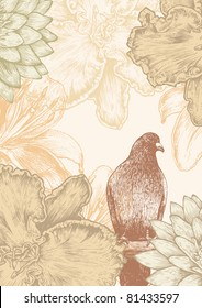 flower background with bird. engraved retro style. vector illustration