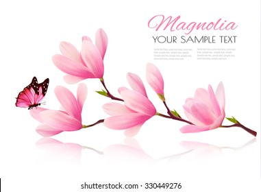 Flower background with blossom branch of pink magnolia and butterfly. Vector
