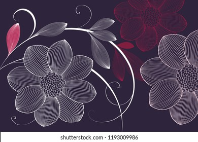 Flower background with flowers dahlias. Hand-painted flowers dahlias. Elements for the design of wall decor, home decor.