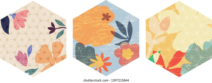 Flower background and Japanese pattern vector. Geometric template with grunge texture. Floral vector elements.