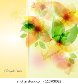 Flower background with orchid. Card for mothers day. Card with panels.