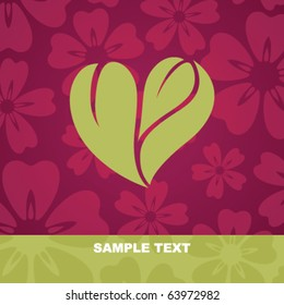 Flower background with stylized heart