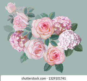Flower beautiful bouquet with rose and hydrangea vector illustration