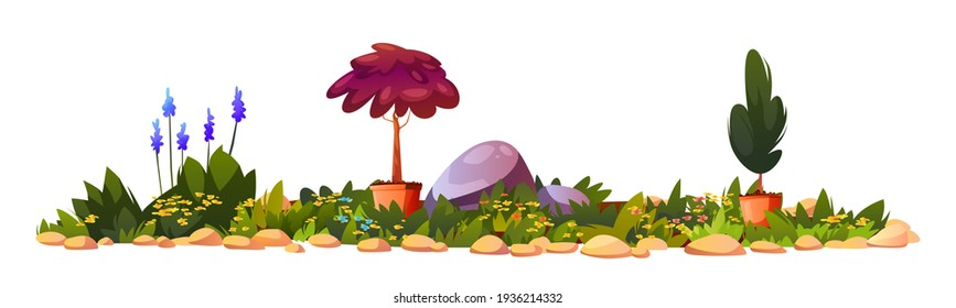 Flower bed with potted plants, blooming flowers and stones, gardening landscape architecture. Vector natural beautiful flowerbed in blossom, backyard with landscape decorative bushes, outdoors lawn