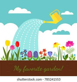 Flower bed with various spring flowers against the background of a cloudy sky. . flat vector illustration in a cartoon style on a white background
