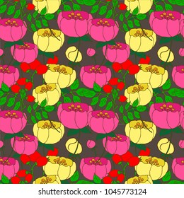 Flower and berry pattern.