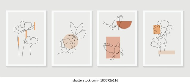 Flower and bird wall art vector set. Earth tone boho foliage flower line art drawing with  bird and butterfly.  Abstract Plant Art design for print, cover, wallpaper, Minimal and  natural wall art.  - Shutterstock ID 1833926116