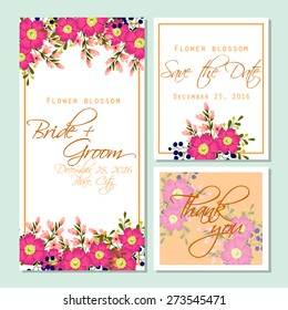 Flower blossom. Wedding invitation cards with floral elements. Flower vector background.