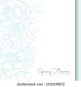 Flower border template - light blue flowers. Vector illustration