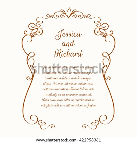 Flower borders template greeting cards invitations stock vector template for greeting cards invitations wedding m4hsunfo