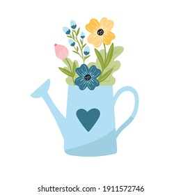 Flower bouquet in the blue watering can. Cute springtime flat hand drawn cartoon style vector illustration isolated on white background.