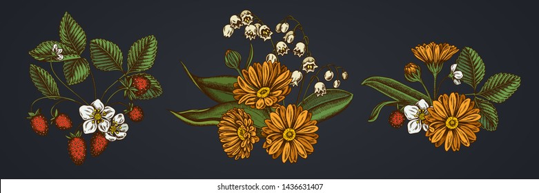 Flower bouquet of calendula, lily of the valley, strawberry