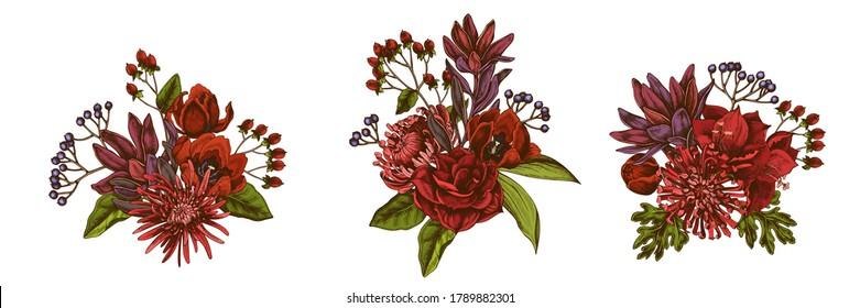 Flower bouquet of colored viburnum, hypericum, tulip, aster, leucadendron, amaryllis
