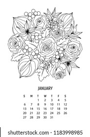 Flower bouquet - coloring calendar page 1 from 12 - january 2019. Flower calendar for year 2019. This wall calendar can be printed and colored. Vector coloring book page for adult – Flower bouquet.