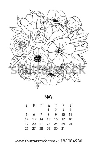 Flower Bouquet Coloring Calendar Page 5 Stock Vector Royalty Free