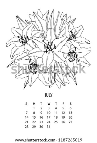flower bouquet coloring calendar page 7 from 12 july 2019 flower calendar for