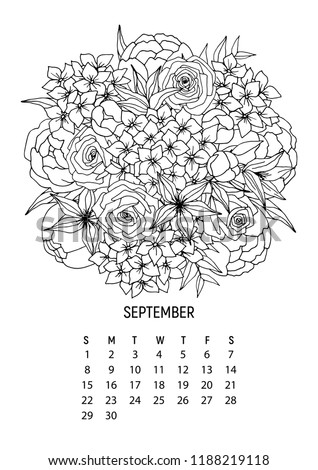 flower bouquet coloring calendar page 9 from 12 september 2019 flower calendar for