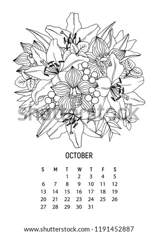 flower bouquet coloring calendar page 10 from 12 october 2019 flower calendar for