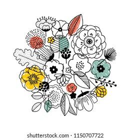 Flower bouquet composition. Linear graphic. Florals background. Scandinavian style. Vector illustration