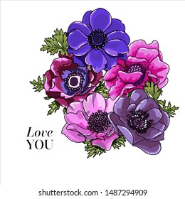 Flower Bouquet floral bunch, vector boho hand drawn design object, element. bright violet, purple and pink Anemone, Poppy flowers rustic floral elegant wedding card. All elements editable.