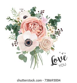 Flower Bouquet floral bunch, vector boho design object, element. Peach, creamy pale pink Anemone Poppy Rose flowers, berry Eucalyptus herb mix rustic floral elegant wedding card. All elements editable
