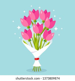 Flower bouquet isolated on background. Bunch of roses, petal of pink tulip. Gift for wedding, holiday concept. Vector flat design
