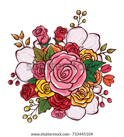 Flower Bouquet Vector Illustration Stock Vector Royalty Free