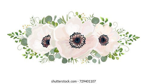 Flower Bouquet vector watercolor design element. Peach, pink white rose Anemone flower, wax eucalyptus green fern leaf, berry mix. Greeting lovely floral card elegant. All elements isolated & editable