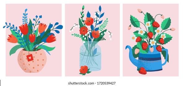 flower bouquets in wrapping and blooming plant. poppies and lilies, strawberry. tulip composition. Decorative florist shop item.