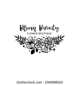 Flower boutique logo template. Bloom beauty. Floral botanical collection. Hand drawn design elements. Nature vector illustration.