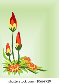 Flower and branch. Vector.