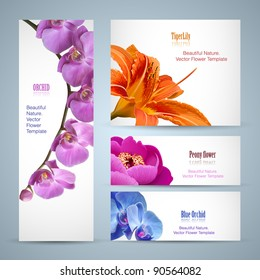 Flower brochure design. Vector layout template background for beauty business with oriental garden flowers as orchid, lily and peony