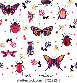 Flower butterfly and bug seamless pattern vector illustration. Butterfly, ladybug, beetle, swallowtail, dragonfly on white background. Nature floral wallpaper design, colorful cartoon insect backdrop