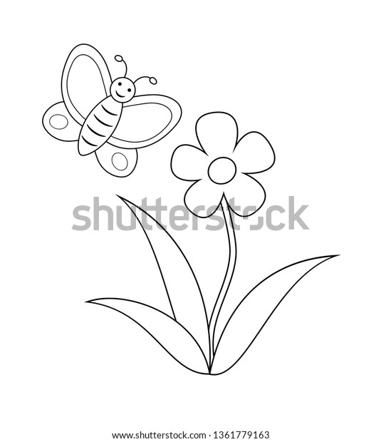 Flower Butterfly Coloring Book Page Children Stock Vector Royalty Free 1361779163