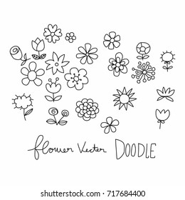 Flower cartoon vector illustration doodle style