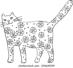 Flower cat. Black and white hand-drawn illustration.