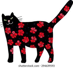 Flower cat. Hand-drawn illustration.