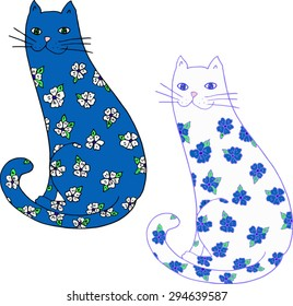 Flower cats. Colorful hand-drawn illustration.