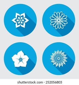 Flower circle 4 icons set. Petunia, tulip, daisy, orchid. Floral symbol. Round blue flat icon with long shadow. Vector