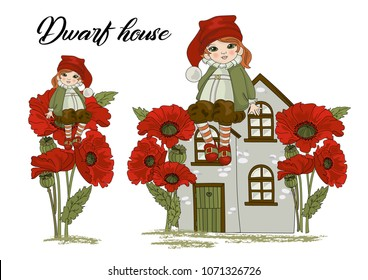 Flower Clipart DWARF HOME Color Vector Illustration Magic Fairyland Cartoon Leprechaun Boy Home Baby Poppy Flower Mystery Happy Birthday Star Print Scrapbooking Handmade Card Album Photo Babybook