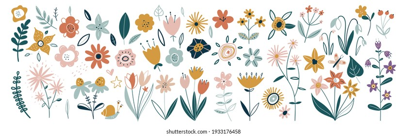 Flower collection with leaves, floral bouquets. Vector flowers. Spring art print with botanical elements. Happy Easter. Folk style. Posters for the spring holiday. icons isolated on white background. - Shutterstock ID 1933176458