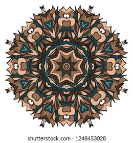 Flower coloring Mandala. decorative elements. Oriental pattern, vector illustration. Indian, moroccan, mystic, ottoman motifs