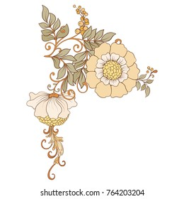 Flower composition. Elements for design in art nouveau style, vintage, old, retro style. Stock vector illustration.