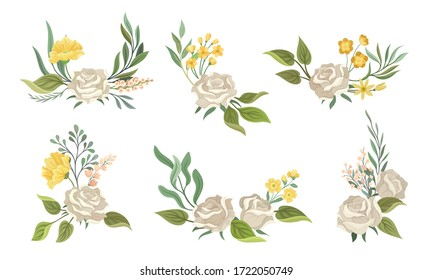 Flower Compositions with White Rose and Floral Leafy Branches Vector Set