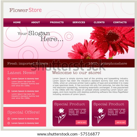 flower concept web design template stock vector royalty free