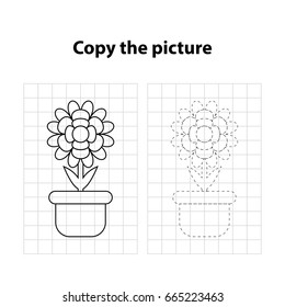 flower copy the picture,  game for children, worksheet  for kids