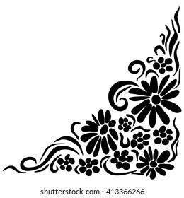 flower vector corner images stock photos vectors shutterstock https www shutterstock com image vector flower corner angle black 413366266